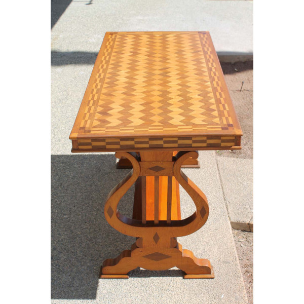 Parquetry_Table_with_Harp/Lyre_Supports slide2